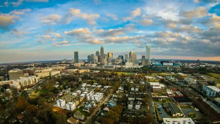 aerial over charlotte city north carolina