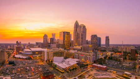 sunset sunrise over charlotte skyline north carolina Stock Photo