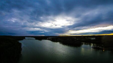 north carolina: aerial view over catawba river in gaston county north carolina Stock Photo