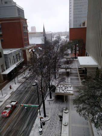 sleet: winter storm passing through charlotte north carolina Stock Photo