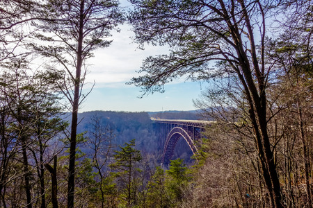 steel arch bridge: Beautiful view of the New River Gorge Bridge in West Virginia