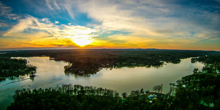 beautiful sunset over lake wylie south carolina