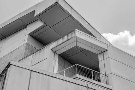 unique building architecture in black and white