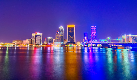 skyline and river coast scenes in Jacksonville Florida
