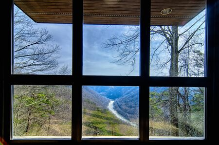 forest railroad: West Virginias New River Gorge is viewed from the visitor center window