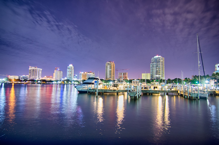 tampa bay: st petersburg florida city skyline and waterfront at night