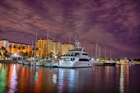 st  pete: st petersburg florida city skyline and waterfront at night