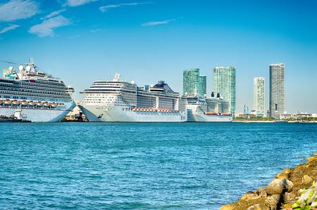 miami florida: Miami Florida city skyline morning with blue sky Editorial