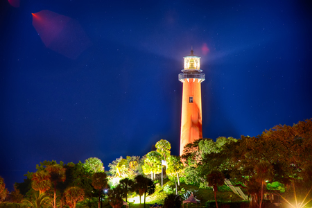 jupiter: jupiter florida  inlet lighthouse at night