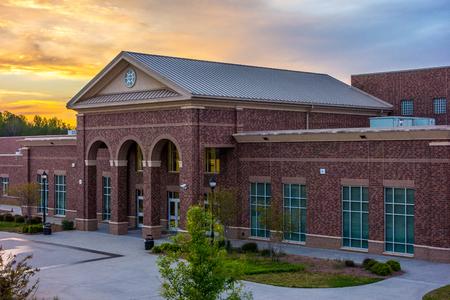 historic buildings: School building - North America historic brick school architecture Editorial