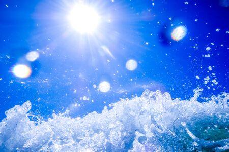waves crashing: blue crystal water waves crashing on beach