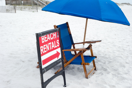 grand strand: beach umbrella and chair rentals sign