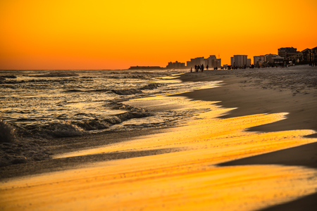 destin: orange sunset over gulf of mexico at destin fl