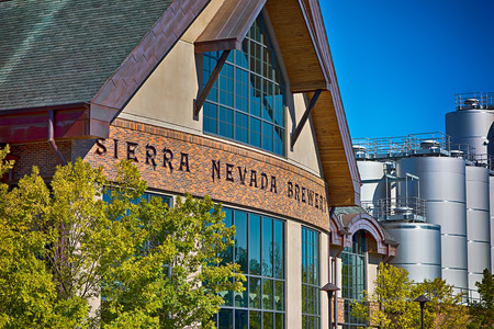 nc: FLETCHER, NC October 15, 2016 -  Sierra Nevada Brewery on sunny day with clear blue sky