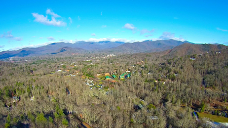 aerial over north carolina mountains