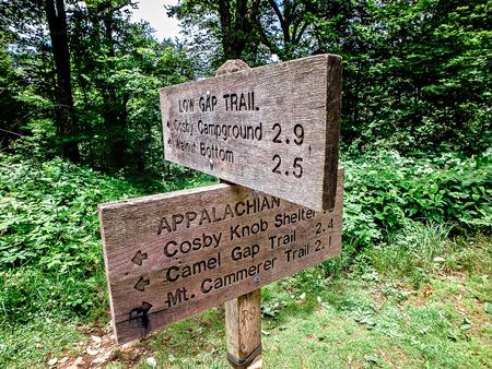 appalachian trail sign: scenes along appalachian trail in great smoky mountains Stock Photo