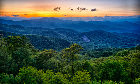 Blue Ridge Parkway Sommer Appalachen Sonnenuntergang Standard-Bild