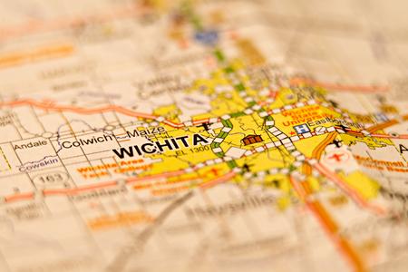 wichita kansas city area map Stock Photo