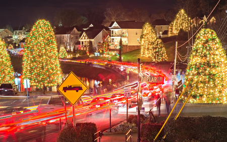 outdoor christmas decorations at christmas town usa stock photo 71600784