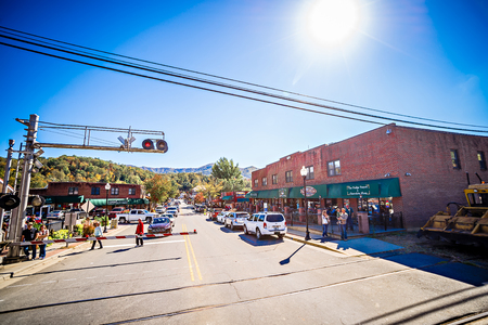 Bryson city, NC October 23, 2016 - Great Smoky Mountains Train ride city scenes Editorial