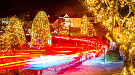 outdoor christmas decorations at christmas town usa stock photo 71670307