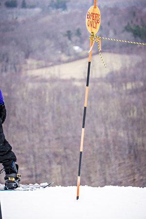 busy skiing season at a winter place ski resort Standard-Bild