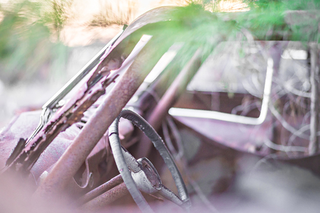 corroded: old rusty abandoned automobile in the woods Stock Photo
