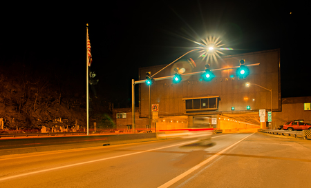 turnpike: one of many pittsburg city tunnels at night