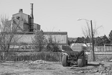 old classic vintage industrial building and heavy machinery