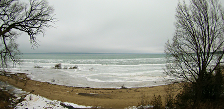 aerial view of lake michigan at acme roadside park