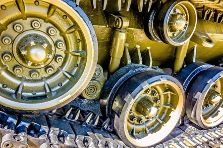 closeup of an army tank parts Stock Photo