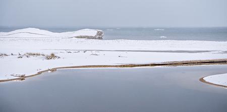 michigan snow: frozen winter scenes on great lakes Stock Photo