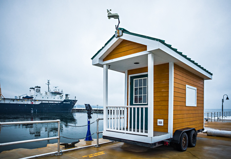 tiny house shed on wheels near lake michigan
