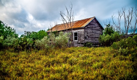abandoned log cabin house deep woods in texas Stock Photo