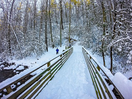 winter scenes at south mountain state park in north carolina