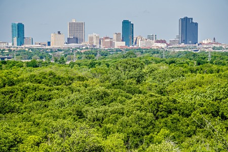 fort worth texas city skyline in a distance Editorial