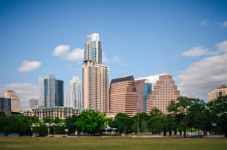 downtown view of austin texas skyline with blue sky