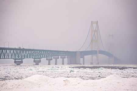 michigan snow: frozen winter scenes on great lakes Editorial