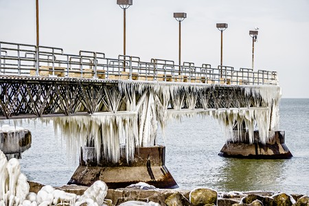 frozen pier on lake erie in cleveland ohio Stock Photo