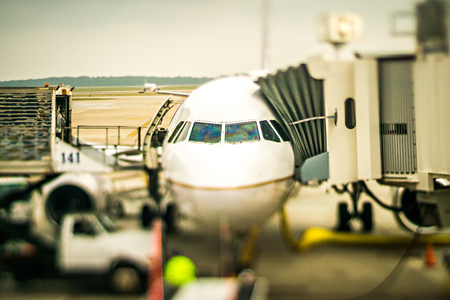 trveling scenes at an american airport Stock Photo