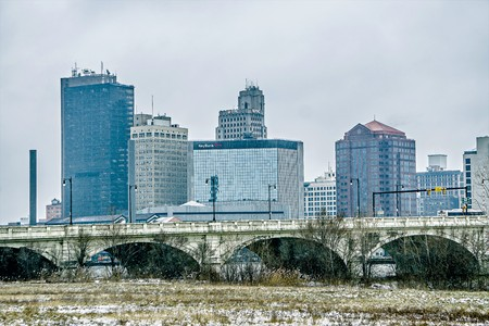 Toledo ohio city skyline and bridges around downtown Editorial