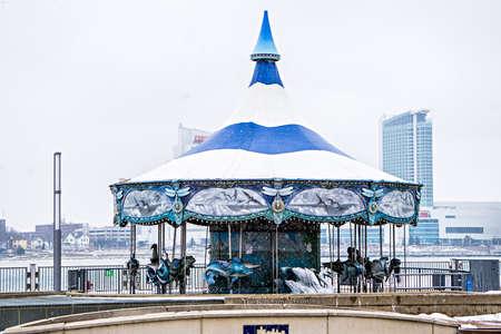 love seat: Empty carousel in winter near detroit downtown