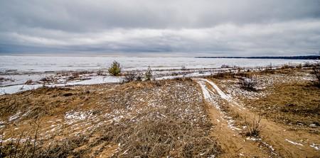 frozen lake: frozen winter scenes on great lakes Stock Photo