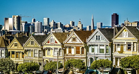 painted ladies and san francisco skyline in california Editorial