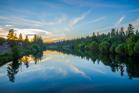 nine mile reservoir on spokane river at sunset 写真素材