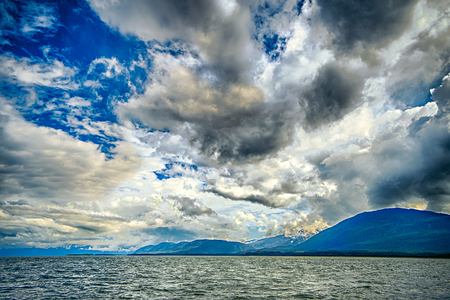 alaska waterscape and mountains near favorite channel and  juneau alaska Stock Photo
