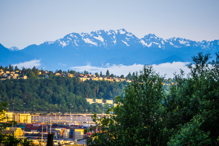 industrial park: Port of Seattle and Olympic Mountains