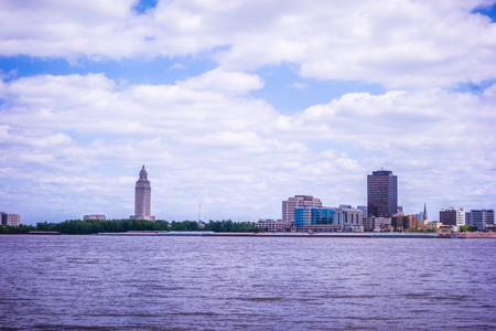Baton rouge downtown skyline across mississippi river Stock Photo