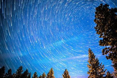 startrails of north pole polaris and small dipper Stock Photo