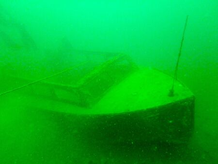 underwater boat wreck in local lake Stock Photo